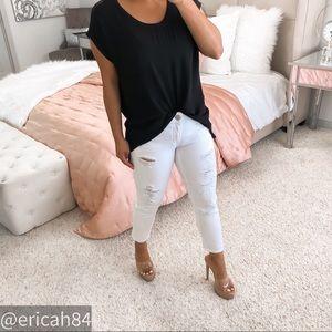Pleione black casual open back short sleeve top